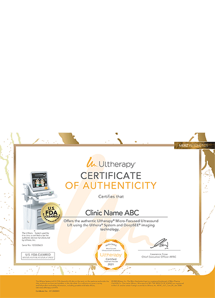 Ultherapy Certificate of Authenticity