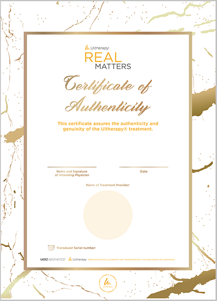 Ultherapy Patient Certificate of Authenticity-e